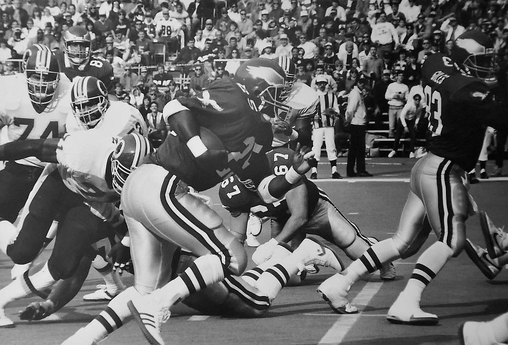 . Toney (25) goes over for first Eagle touchdown in this 1987 photo by Bill Stoneback