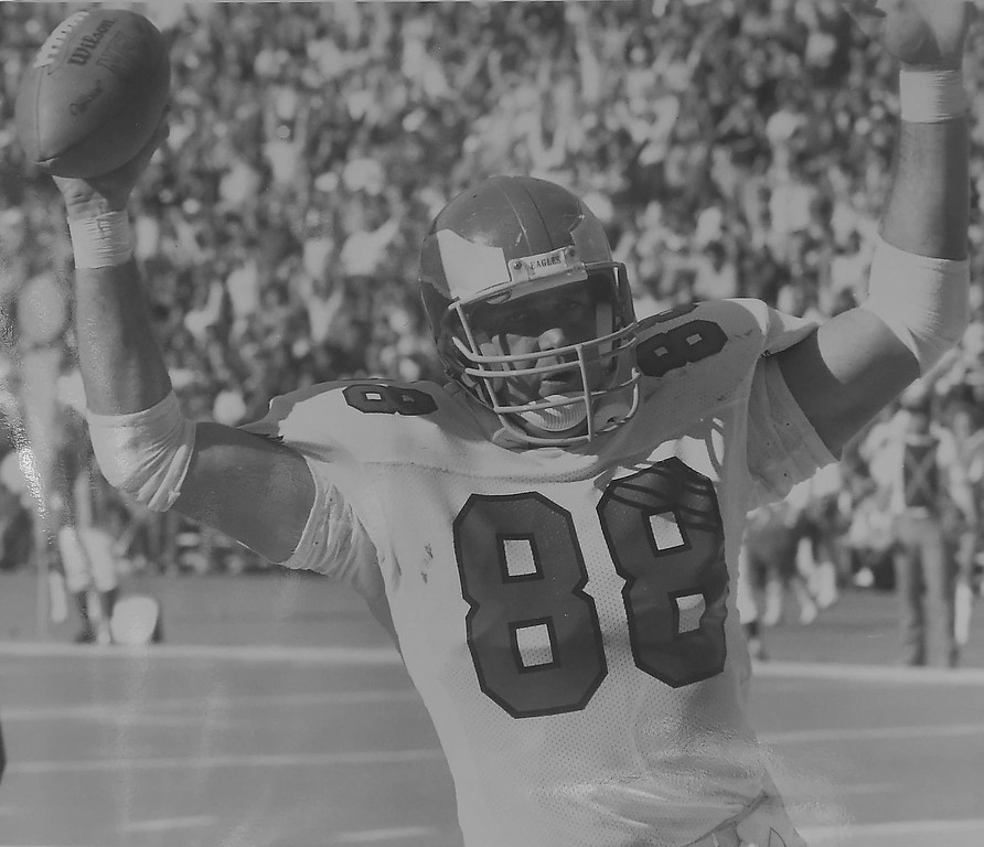 . DAILY LOCAL ARCHIVES -  John Spagnolia after his first touchdown in 1980. He played for the Eagles from 1979-1897. DAILY LOCAL NEWS ARCHIVES