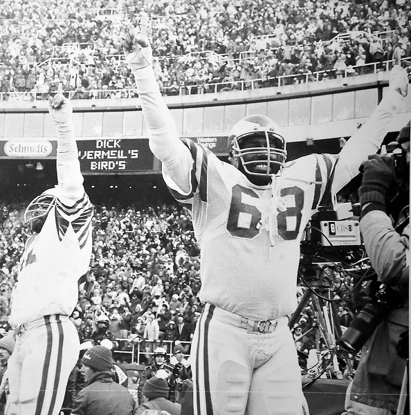 (68) Dennis Harrison celebrates the NFC championship game against Dallas. January 11, 1981. Final score Eagles 20 Dallas 7. DAILY LOCAL NEWS ARCHIVES