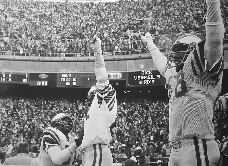 (68) Dennis Harrison  and teammates celebrate the NFC championship game against Dallas. January 11, 1981. Final score Eagles 20 Dallas 7. DAILY LOCAL NEWS ARCHIVES