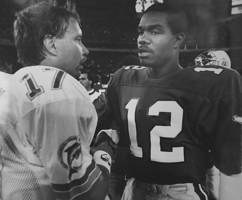 . DAILY LOCAL ARCHIVES -  Former Eagle Ron Jaworski meets Randall Cunningham 1987. Jaworski was a reserve, Cunningham threw 22-38 for 189 yards, 1 touchdown and 39 yards rushing.