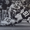 Eagles' (58) TY Allert and (55) Mike Reichenbach tackle Redskins Art Monk. Photo Ben Morrison.  DAILY LOCAL NEWS ARCHIVES