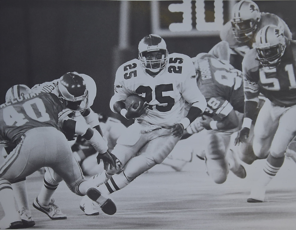 . Anthony Toney the one bright spot of the night in this  1987  preseason games against the Detroit Lions.  DAILY LOCAL NEWS ARCHIVES.