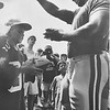 Eagles defensive lineman, Reggie White directs the line of his fans during Summer camp. Marc Gaw waits for his turn to be signed. Photo by Kristen Cortazzo DAILY LOCAL NEWS ARCHIVES