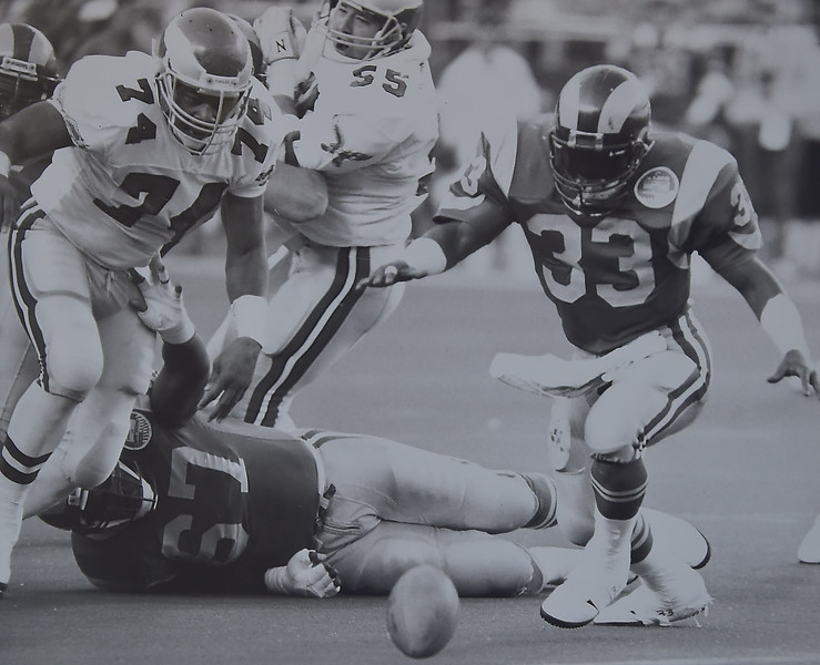 Fumble Eagles recover against the Rams. Photo by Larry McDevitt  DAILY LOCAL NEWS ARCHIVES