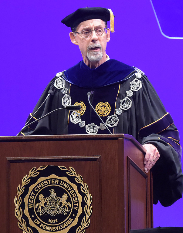 . PETE  BANNAN-DIGITAL FIRST MEDIA         West Chester University President Christopher Fiorentino  speaks at his formal inauguration as the president Friday in a ceremony at Emilie K. Asplundh Concert Hall.