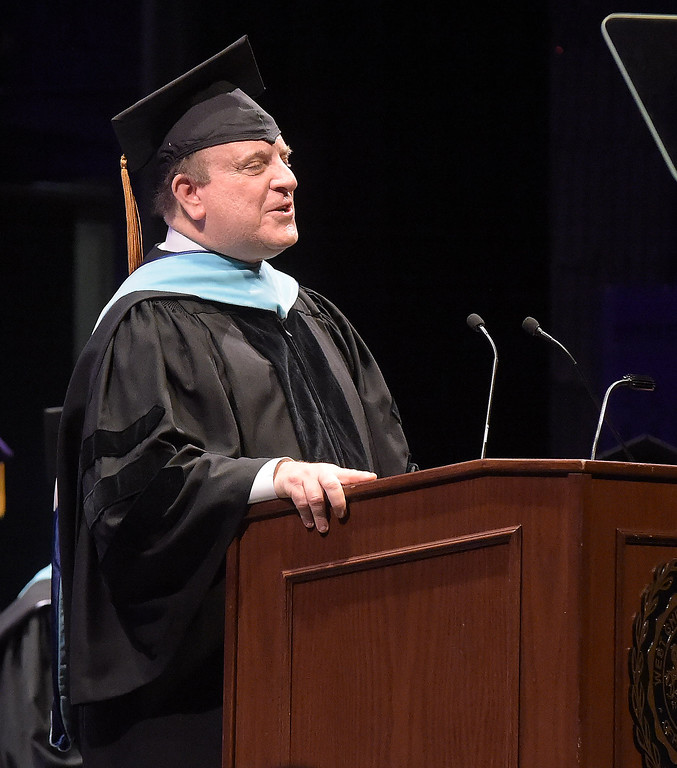 . PETE  BANNAN-DIGITAL FIRST MEDIA       Pennsylvania State Senator Andrew Dinniman (19th D) speaks at the inaugurationo of President Christopher Fiorentino Friday in a ceremony at Emilie K. Asplundh Concert Hall.