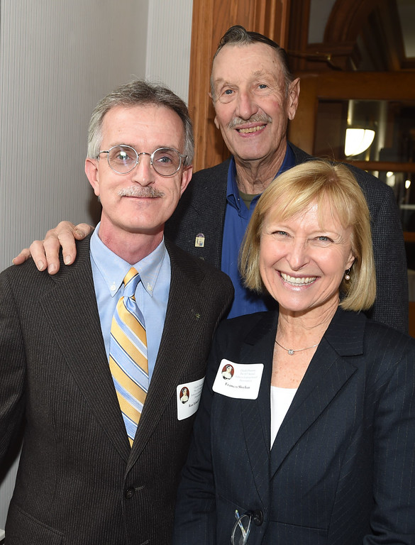 . PETE BANNAN-DIGITAL FIRST MEDIA   Ron Echoff of Edge Wallboard Machinery Co. in Coatesville with speaker Bob Ford of Coatesville and Frances Sheehen, CEO of Brandywine Health.