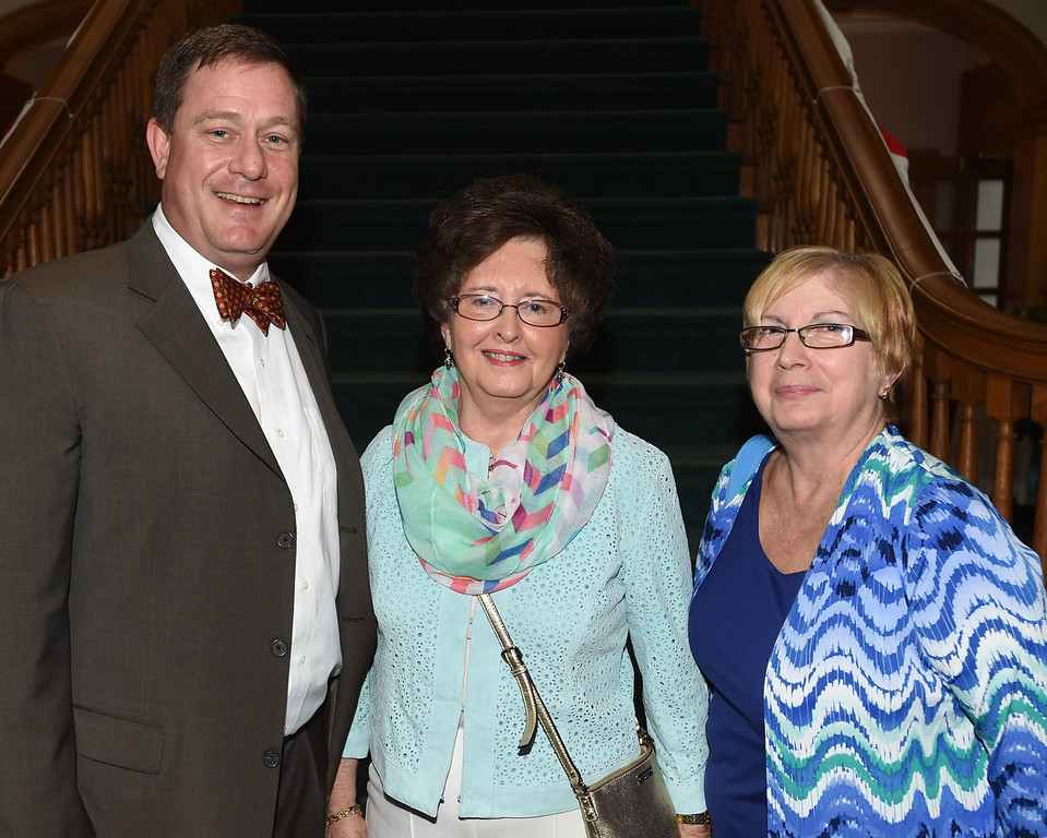 . PETE BANNAN-DIGITAL FIRST MEDIA   Scott Huston of Berwyn, President of the Graystone Society, with former Lukens  Steel employees Sharon Tandarico and Cheryl Proudfoot both of Coatesville.