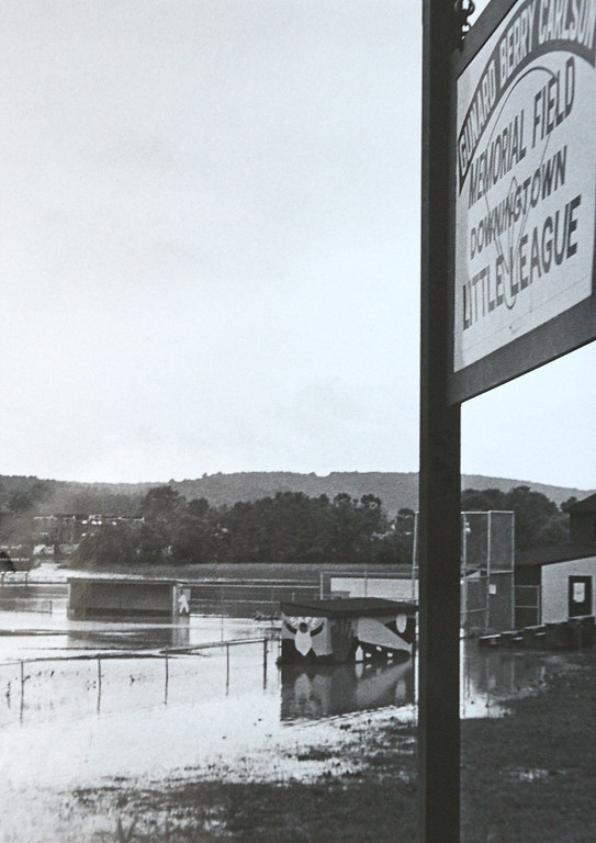 . DAILY LOCAL ARCHIVES   -Following Hurricane Agnes. Brandywine creek  Downtingtown Little League Route 322 north of Route 30 June 1972.