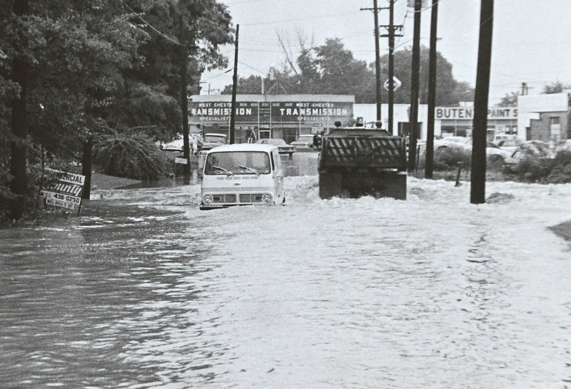 DAILY LOCAL ARCHIVES   -Following Hurricane Agnes. Montgomery Ave. and Chestnut St.  West Chester June 1972.