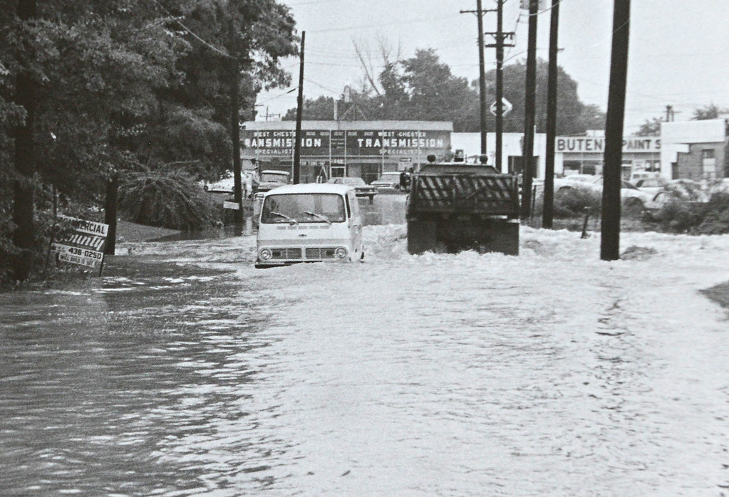 . DAILY LOCAL ARCHIVES   -Following Hurricane Agnes. Montgomery Ave. and Chestnut St.  West Chester June 1972.