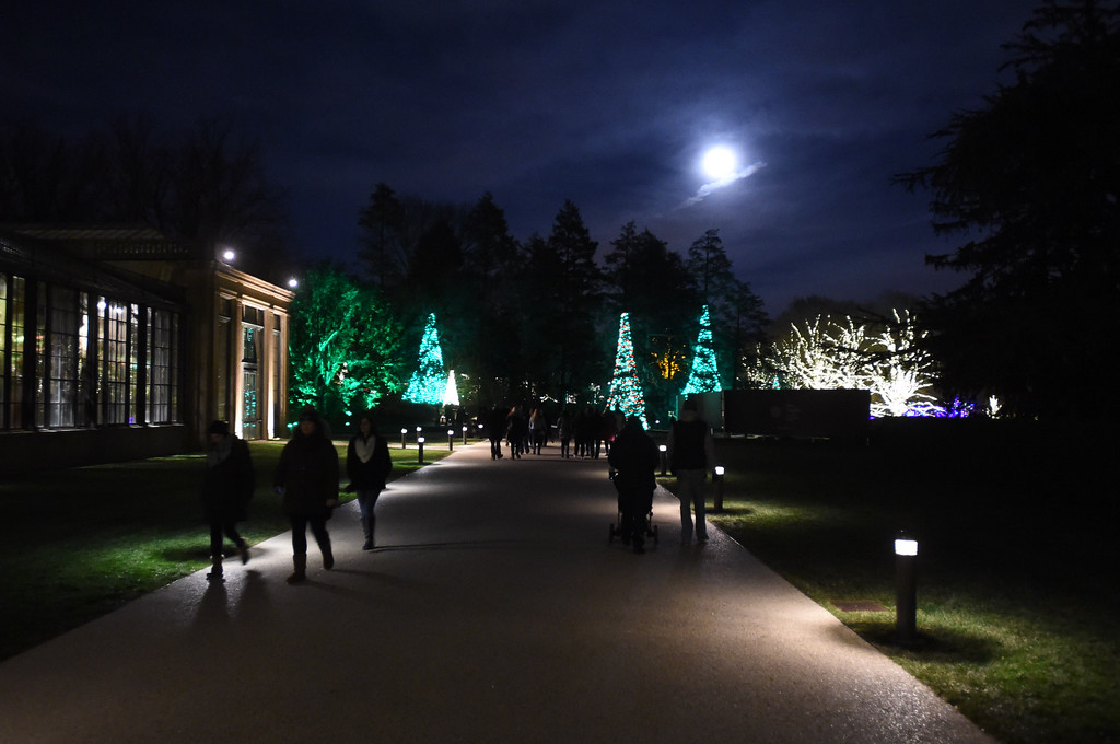 . PETE  BANNAN-DIGITAL FIRST MEDIA     Moon glow at Longwood Gardens.
