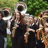 PETE BANNAN-DIGITAL FIRST MEDIA   West ChesterMarching Band played in tribute to former West Chester mayor Dick Yoder as his coffin was brought  from St. Agnes Church.  Yoder taught at West Chester University for 38 years, he was a Full-Professor in the Department of Kinesiology, served as a Football Coach, Track Coach and the University's Director of Athletics..