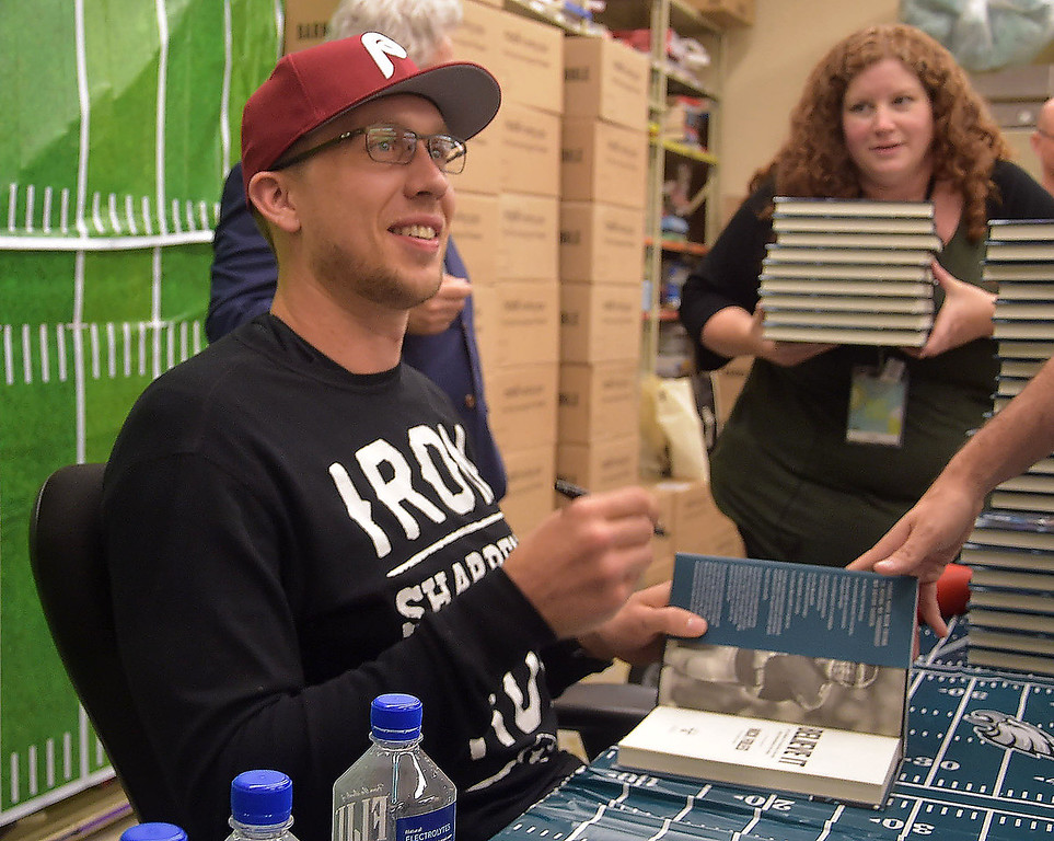 . PETE  BANNAN-DIGITAL FIRST MEDIA           Eagles quarterback Nick Foles was at the Barnes & Nobles in Tredyffrin Thursday evening to sign copies of his book, Believe It: My Journey of Success, Failure, and Overcoming the Odds.
