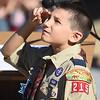 PETE  BANNAN-DIGITAL FIRST MEDIA  Bradford Heights Elementary School  Boy Scout Ian Fabris salutes during the flag raising Patriots Day Monday, Sept. 12, 2016.