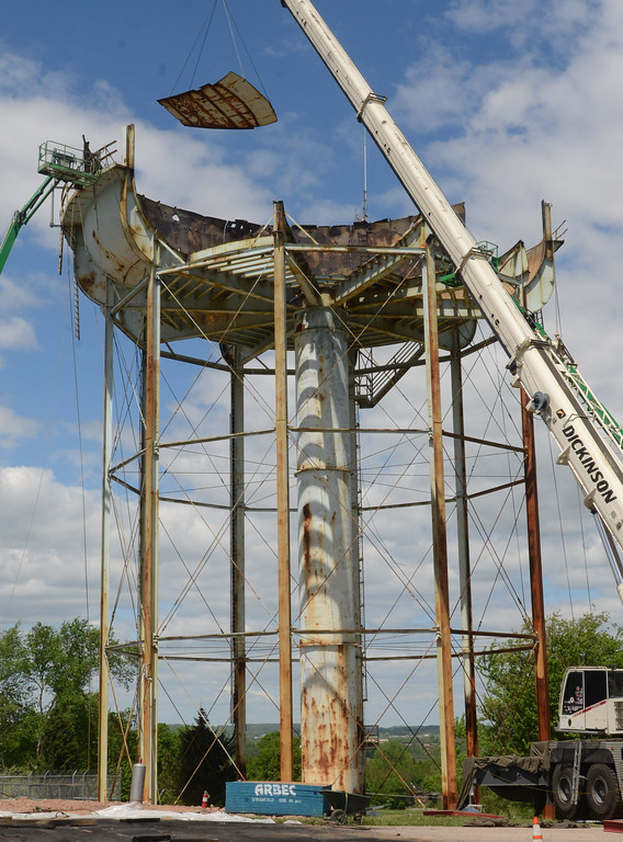 . PETE BANNAN-DIGITAL FIRST MEDIA      	  The 750,000 water tank at the Pennhurst State Hospital property is coming down this week.