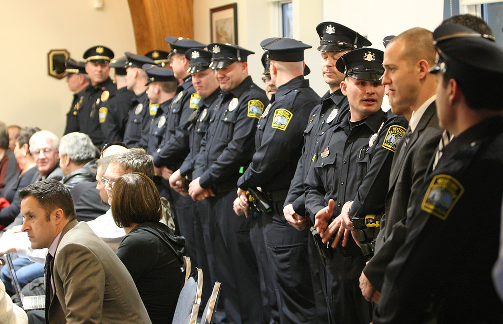. Staff Photo By Vinny Tennis  Police officers from WEGO and neighboring departments arrive for the swearing in of the new Westtown East Goshen Regional Police Chief Brenda Bernot at the Westtown Township Building in Westtown on Monday, March 25, 2013.