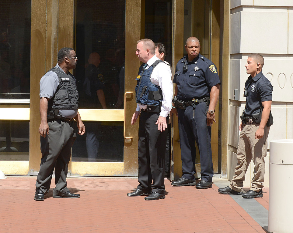 . PETE BANNAN DAILY LOCAL NEWS- Police and Sheriffs at a shooting at the Chester County Justice Center occurred there shortly before noon Tuesday in the first-floor lobby involving a members of the county Sheriff�s Office and a man who was apparently trying to enter.