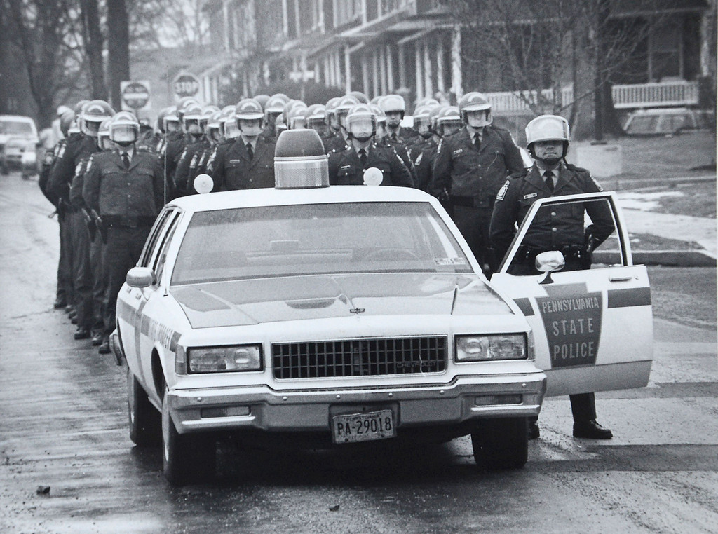 . The Ku Klux Klan marched through the streets of the borough Saturday (Jan. 12, 1991) sparking a counter-demonstration that ended with a tense standoff between anti-Klan protesters and police at borough hall.  West Chester police said 32 hooded Klansmen and 15 white-supremacist �skinheads� completed the six-block march in just over 10 minutes-surrounded by a squad of uniformed state police including 10 mounted troopers.  Daily Local News file photo