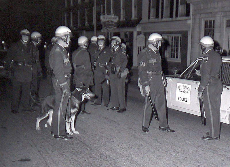 West Chester police authorities, hard pressed to keep up with the roving gangs, called for State Police reinforcements shortly before 1 a.m. Twelve troopers from Exton, Avondale and Lancaster assisted some 15 borough and others from West Goshen Township in scattering the phantom vandals. DLN Staff Photo  DAILY LOCAL NEWS ARCHIVES  April 1968.