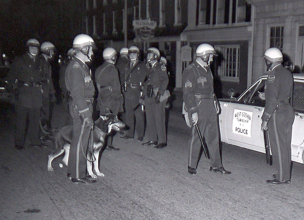 . West Chester police authorities, hard pressed to keep up with the roving gangs, called for State Police reinforcements shortly before 1 a.m. Twelve troopers from Exton, Avondale and Lancaster assisted some 15 borough and others from West Goshen Township in scattering the phantom vandals. DLN Staff Photo  DAILY LOCAL NEWS ARCHIVES  April 1968.