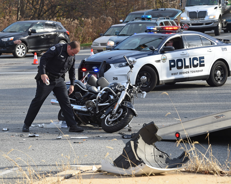 . VINNY TENNIS - Daily Local News  A motorcyclist was reported to be in critical condition following an accident at West Goshen on Friday, Nov. 27, 2015. According to West Goshen Police, shortly after 2 P.M. a SUV traveling east on the bypass turned left into the path of the westbound motorcyclist. The patient was transported by Good Fellowship Ambulance with a Chester County Medic on board. West Chester Fire Police directed traffic as police investigated the crash and the scene was cleared.