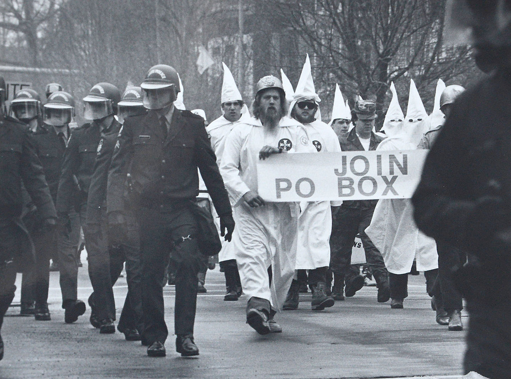 . The Ku Klux Klan marched through the streets of the borough Saturday(Jan. 12, 1991) sparking a counter-demonstration that ended with a tense standoff between anti-Klan protesters and police at borough hall.  West Chester police said 32 hooded Klansmen and 15 white-supremacist �skinheads� completed the six-block march in just over 10 minutes-surrounded by a squad of uniformed state police including 10 mounted troopers.  Daily Local News file photo