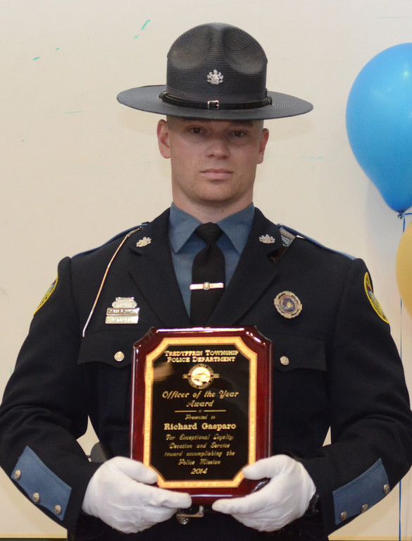 . VINNY TENNIS - Daily Local News  Officer Richard Gasparo was awarded the Officer of the Year at the Treyffrin Twp. Police Department 2015 awards ceremony in Tredyffrin on Wednesday, April 29, 2015.
