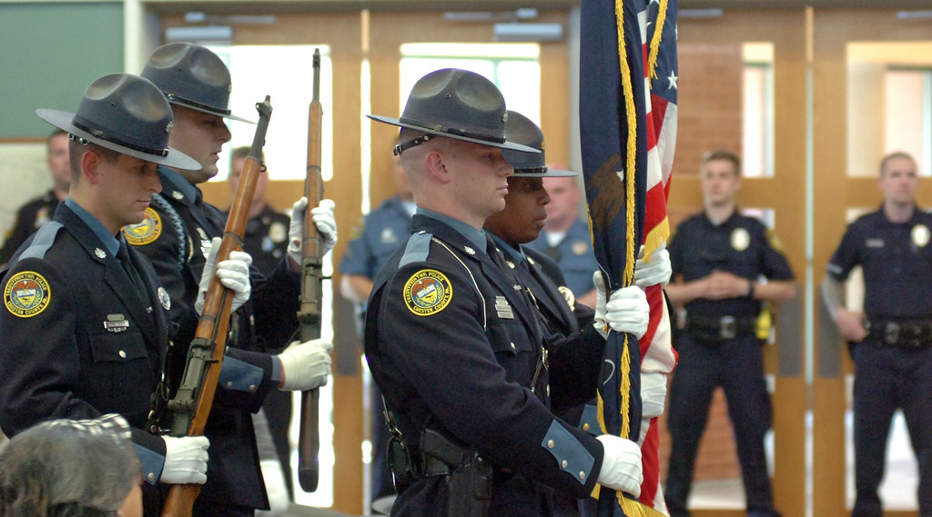 . VINNY TENNIS - Daily Local News  The honor guard Posts the Colors at the Treyffrin Twp. Police Department 2015 awards ceremony in Tredyffrin on Wednesday, April 29, 2015.