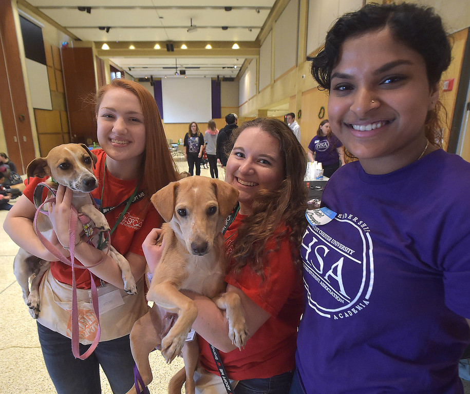 . PETE BANNAN -DIGITAL FIRST MEDIA     West Chester University Honors Students Association\'s  Aria Swanson, Danielle Gendler and Archie Chungapally with two of the puppies brought to campus by the Brandywine Valley SPCA Thursday. Students paid $3 to pet the puppies with all proceeds going to help the Barclay Friends Home residents.