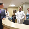 PETE BANNAN-DIGITAL FIRST MEDIA  Congressman Ryan Costello, (R) PA 6th. speaks Dr. Eric DiCocco and Dr. Amy Jane Cadieux at the opening of Phoenixville Hospital's new senior citizen emergency room Monday May 16, 2016. The seven bed  ER/observation unit is the first of its kind in the region.