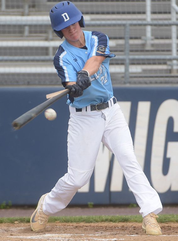 . PETE BANNAN  DIGITAL FIRST MEDIA  Lionville hitter Tommy Hammett breaks his bat hitting against Spring City pitcher Nick Brauer at Immaculata University Tuesday.