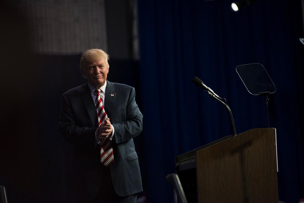 . RICK KAUFFMAN - DIGITAL FIRST MEDIA Donald Trump stepped away from the mic amidst roar of applause at Sun Studios Thursday night.