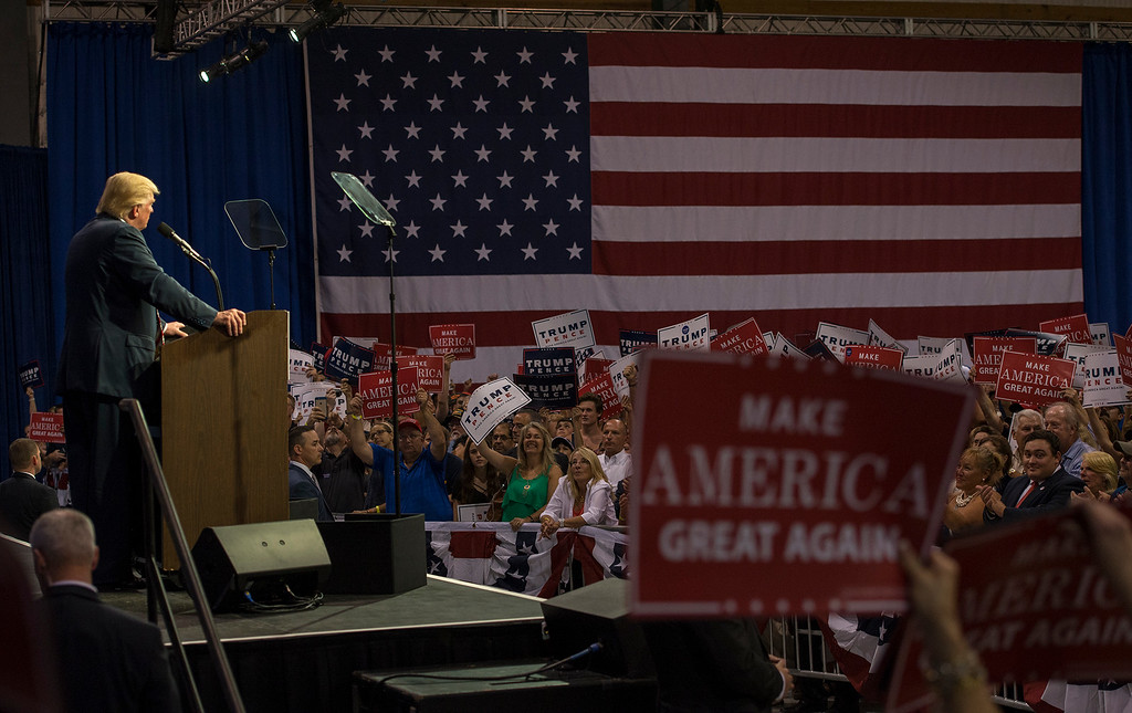. RICK KAUFFMAN - DIGITAL FIRST MEDIA Donald Trump placed blame his speech in Chester Twp. Thursday night on alleged failed political policies of Democrats in city governments.
