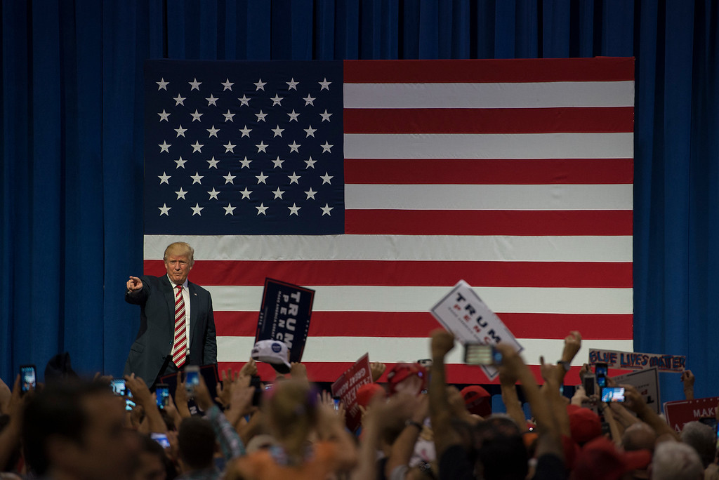 . RICK KAUFFMAN - DIGITAL FIRST MEDIA Following his lengthy speech at Sun Studios in Chester Twp., Donald Trump gives a final curtain call before escaping behind the scenes on Thursday.