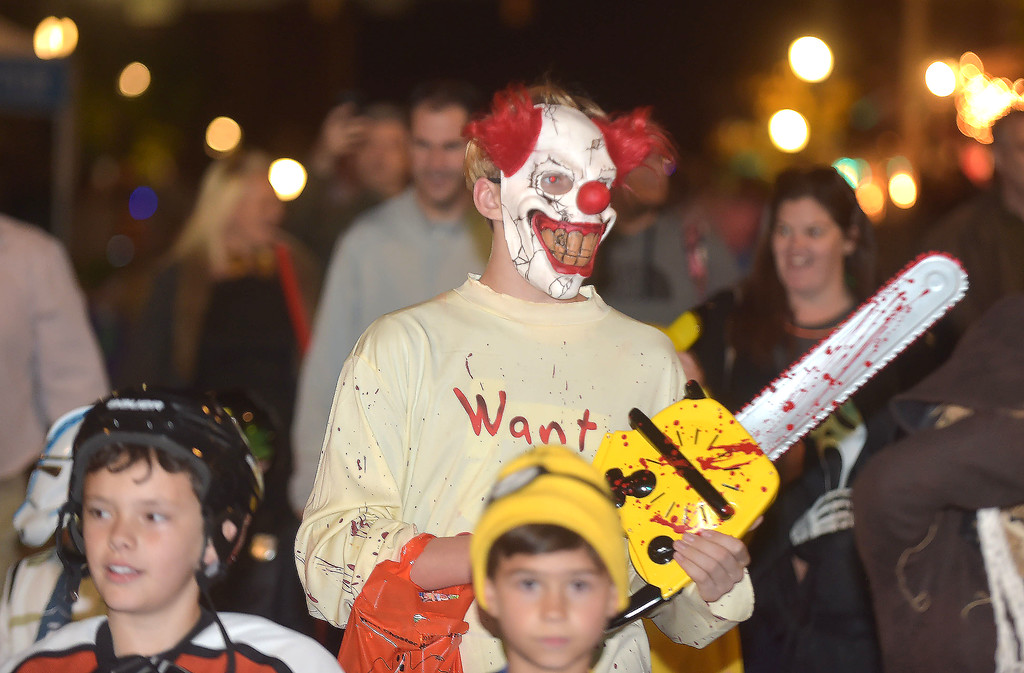 . PETE BANNAN-DIGITAL FIRST MEDIA   	This scary clown was spotted.during the annual West Chester Halloween parade Wednesday evening.