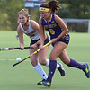 West Chester University middie (6) Sophie Rubbbert controls the ball as Bloomsburg's (26) Tesa Hoffman defends in the first half Wednesday afternoon at Vonnie Gros field. The Golden Rams defeated Bloomsburg 4-0 to remain in first place in the PSAC.