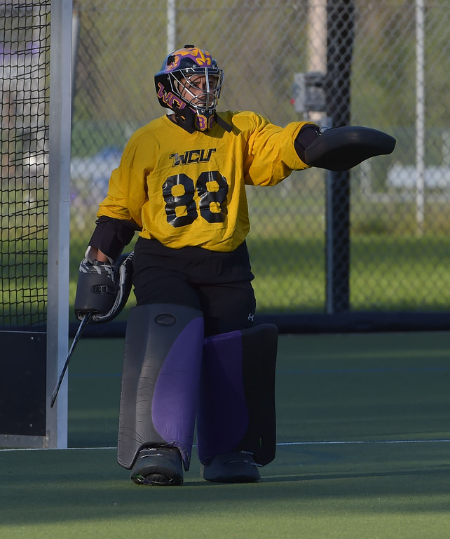 . West Chester University goalie Marissa Elizaardo directs the defense Wednesday afternoon at Vonnie Gros field. The Golden Rams defeated Bloomsburg 4-0 to remain in first place in the PSAC.