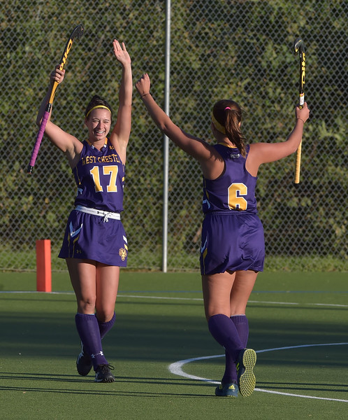 West Chester University senior Kate Hatch (17) celebrates her second half goal with teammate Sophie Ruppert Wednesday afternoon at Vonnie Gros field. The Golden Rams defeated Bloomsburg 4-0 to remain in first place in the PSAC.