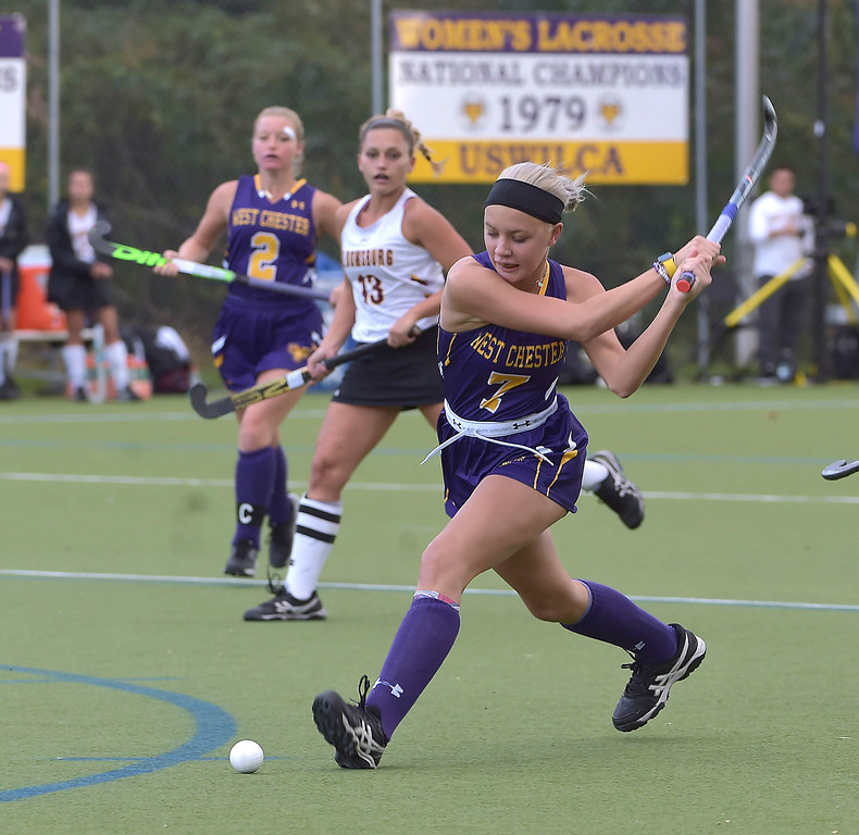 . West Chester University middie (7) Katie Thompson had two goals against Bloomsburg in the Golden Rams 4-0 victory Wednesday afternoon at Vonnie Gros field.