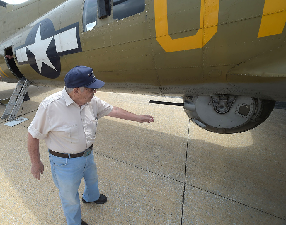 ". PETE BANNAN  DIGITAL FIRST MEDIA    World War II  veteran Tony Cimellaro of Parkersburg talks about flying in a B-25 bomber.  Cimellaro was a belly gunner. ""You get in by pointing the guns down,Cimellaro said. \""You had nine other guys depending on you, you had to keep your head straight.\""  Cimellaro was drafted in 1944. He saw service patroling the west coast of the United States in 1944 and early 1945. In 1945 he also served in Italy but instead of flying he was assigned to guard the planes as the the military decided what to do with the surplas planes following the war."
