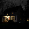 December 31, 2016:  As the last night of 2016 falls, the new hanging light on the front porch welcomes another new year.  I was especially happy to be able to put candles in the (new) windows for the holidays this year; a pretty, appropriate, and comforting reminder of the house's circa 1850 origins.