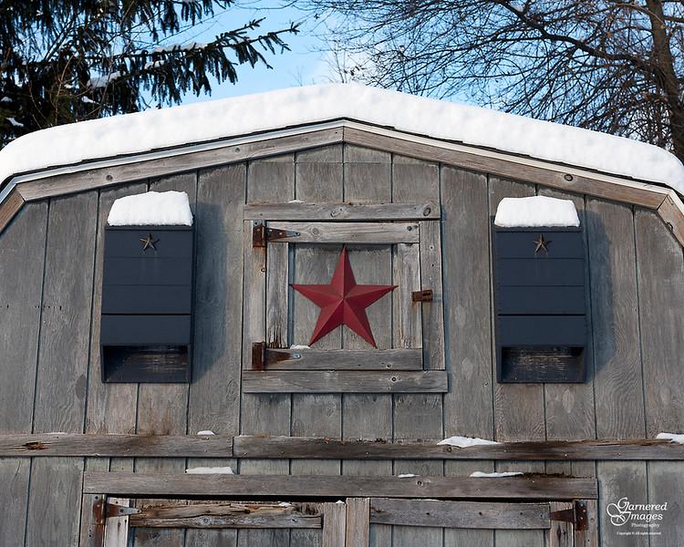 December 25, 2017:  The little blue barn.
