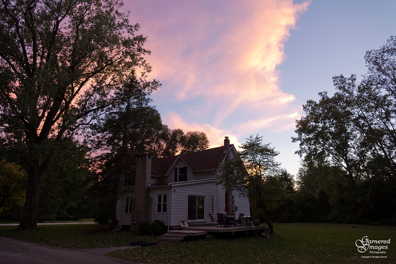 September 22, 2018:  Sunset at the farmhouse.