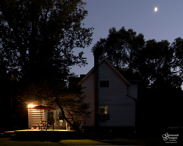September 16, 2018:  Moon and Mars overhead as night falls on our old farmhouse.