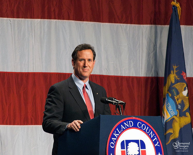 February 16, 2012:  Presidential candidate Rick Santorum at the Oakland County Republican's Lincoln Dinner.