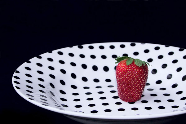 March 28 - Spring Polka dots and my first strawberry of the season.