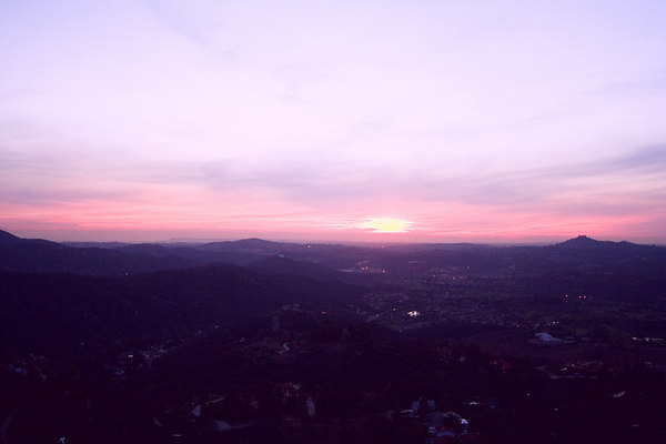 March 22 - A pretty sunset tonight with the lights just coming on in the valley