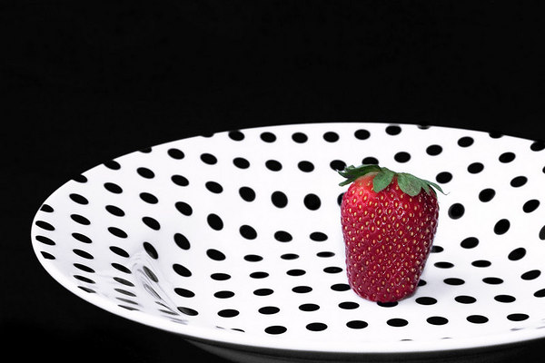 March 28 - Spring polka dots and my first strawberry of the season. I cleaned up a blue color cast on this. It is now truly black and white.